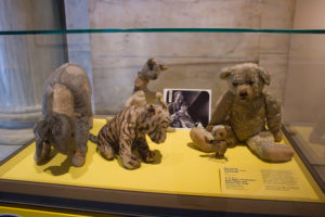 Winnie-the-Pooh on protected by bulletproof glass display with Tigger, Kanga and Piglet at the New York Public Library