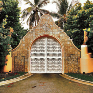 The physical security gates at Mar-a-Lago Resort in Palm Springs, FL