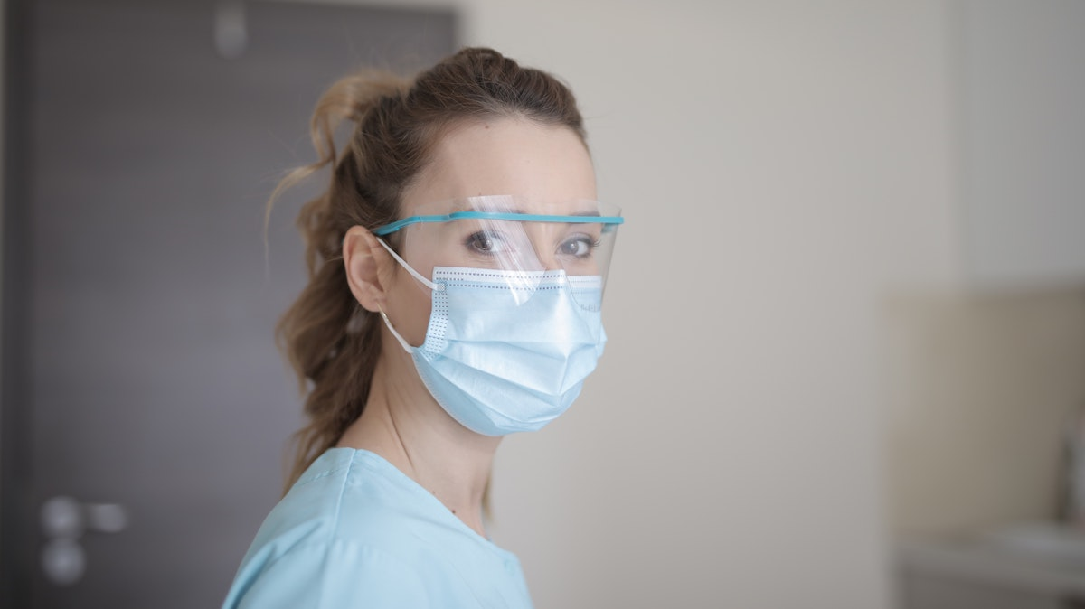 Healthcare worker wearing mask