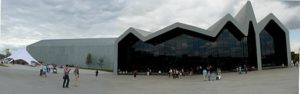 Panoramic shot of the Riverside Museum front entrance