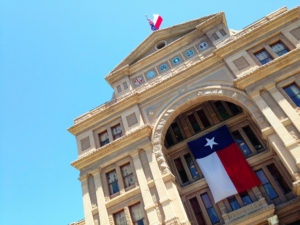 Texas state flag flown at capital building