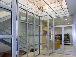 School entryway secured with modern bulletproof glass doors and windows