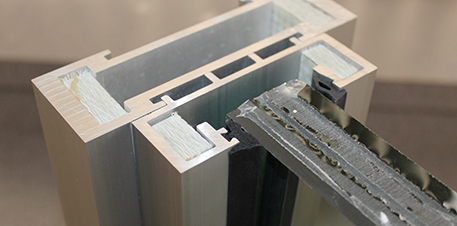 Cross section close up of a bullet resistant window frame