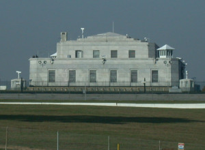 U.S. Bullion Depository viewed from road at Fort Knox Kentucky