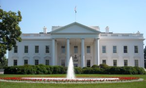 Front view of The White House in spring